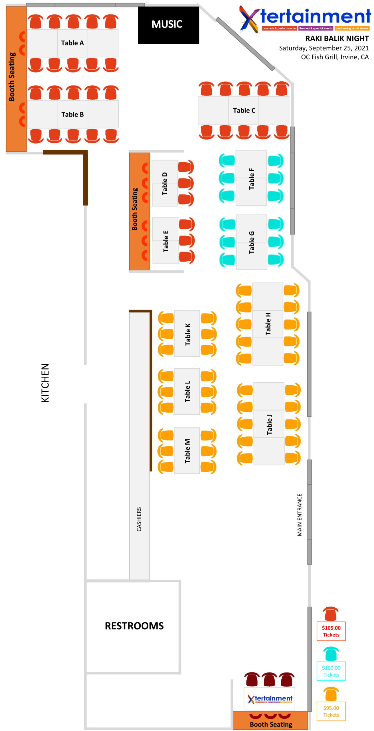 OC Fish Grill Seating Chart